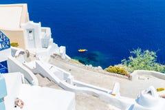 Vista de la ciudad de Fira - isla de Santorini, Creta, Grecia.   Imagen de archivo libre de regalías