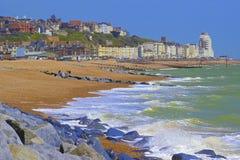 Vista de la ciudad de St Leonard y de Hastings en la costa sur de Reino Unido foto de archivo libre de regalías