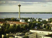 Vista de la ciudad de una altura Tampere, Finlandia Imagen de archivo libre de regalías