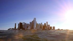 Vista de la ciudad en la bahía Puesta del sol de Beautifull Animación realista del agua almacen de metraje de vídeo