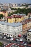 Vista de la ciudad europea vieja de la altura del vuelo del pájaro St Petersburg, Rusia, Europa del Norte Imagen de archivo libre de regalías