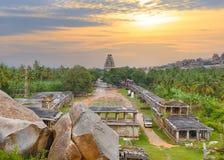 Vista de la ciudad hindú antigua de Hampi imagen de archivo