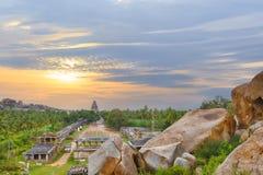 Vista de la ciudad hindú antigua de Hampi imágenes de archivo libres de regalías