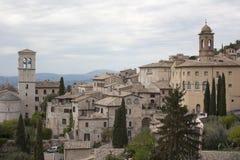 Vista de la ciudad medieval del assisi Foto de archivo libre de regalías