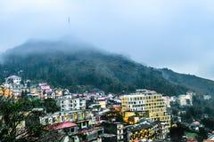 Vista de la ciudad por la tarde, Sapa, Lao Cai, Vietnam de Sapa Fotos de archivo libres de regalías