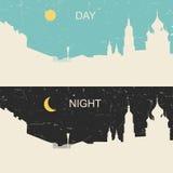 Vista de la ciudad rusa de la herencia día y noche Imágenes de archivo libres de regalías
