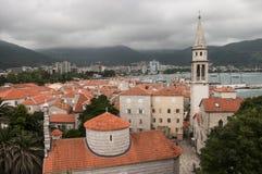 Vista de la ciudad vieja de Budva fotografía de archivo