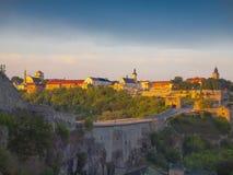 Vista de la ciudad vieja de Kamyanets-Podilsky Imagen de archivo