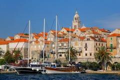 Vista de la ciudad vieja de Korcula, Croacia fotos de archivo libres de regalías