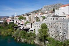 Vista de la ciudad vieja de Mostar, de Bosnia y de Hercegovina Imagenes de archivo
