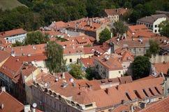 Vista de la ciudad vieja de Vilnius, Lituania Foto de archivo libre de regalías