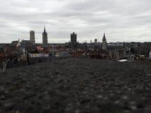 Vista de la ciudad vieja de los castillos de una Gante de la altura fotos de archivo libres de regalías