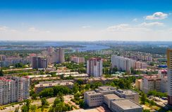 Vista de la ciudad de Vyshgorod de una altura imágenes de archivo libres de regalías