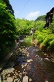 Vista de la corriente fresca con el banco de piedra a través de árboles verdes en Kuro Fotografía de archivo libre de regalías