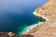 Vista de la costa costa del mar muerto Foto de archivo libre de regalías