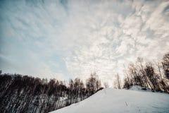 Vista de la cuesta del esquí Fotos de archivo libres de regalías