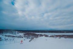 Vista de la cuesta del esquí Foto de archivo libre de regalías