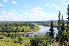 Vista de la curva del río del bosque del alto banco Foto de archivo libre de regalías