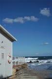 Vista de la escena de la playa en otoño Imagen de archivo libre de regalías