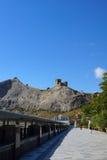Vista de la fortaleza Genoese Foto de archivo libre de regalías