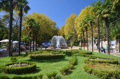 Vista de la fuente en la ciudad de Riviera del parque de Sochi Imagenes de archivo