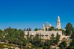 Vista de la iglesia de Dormition en el monte Sion, Jerusalén, Israel Foto de archivo libre de regalías
