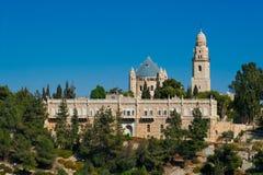 Vista de la iglesia de Dormition en el monte Sion, Jerusalén, Israel Imágenes de archivo libres de regalías