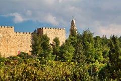 Vista de la iglesia de Dormition, Jerusalén, Israel Imagen de archivo