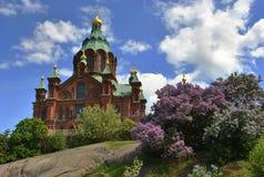 Vista de la iglesia ortodoxa de Uspenski Imágenes de archivo libres de regalías