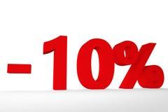 Vista de la inscripción menos el diez por ciento del ejemplo del color rojo 3d fotos de archivo libres de regalías