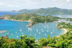 Vista de la isla Antigua Foto de archivo libre de regalías