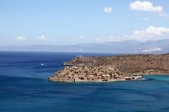 Vista de la isla de Spinalonga, Crete, Grecia. imagenes de archivo