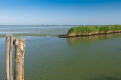 Vista de la laguna de Scardovari, Po& x27; delta del río, mar adriático, él Fotografía de archivo