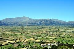 Vista de la meseta fértil de Lassithi en Crete foto de archivo