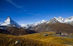Vista de la montaña de Cervino Imagen de archivo libre de regalías