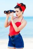 Vista de la muchacha modela Foto de archivo libre de regalías