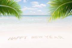Vista de la Navidad agradable y de la playa tropical del tema del Año Nuevo Fotografía de archivo