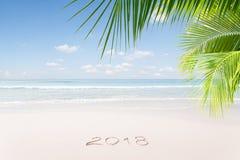 Vista de la Navidad agradable y de la playa tropical del tema del Año Nuevo Foto de archivo libre de regalías