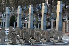 Vista de la necrópolis de Lychakiv, un cementerio histórico en Lviv, Ucrania Foto de archivo libre de regalías