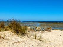 Vista de la orilla de las playas de Huelva al lado de los corrales Imágenes de archivo libres de regalías