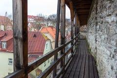Vista de la pared defensiva vieja en fortalecimientos perfectamente preservados cerca de la calle de Rannamae Fotografía de archivo libre de regalías