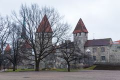 Vista de la pared defensiva vieja en fortalecimientos perfectamente preservados en Tallinn Foto de archivo libre de regalías