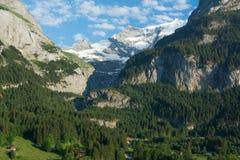 Vista de la pared Klein Fisher Horn del valle de Grindelwald, Switze Foto de archivo