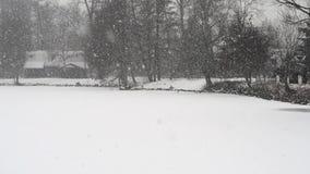Vista de la pequeña charca durante las nevadas muy pesadas metrajes