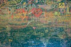 Vista de la pizarra colorida fotografía de archivo