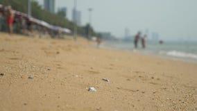 Vista de la playa asiática urbana, terraplén 4K Falta de definici?n, fondo almacen de metraje de vídeo