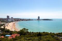 Vista de la playa de baño N1 de Xiao Yu Shan Park, Qingdao Imagen de archivo libre de regalías