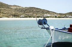 Vista de la playa de Maganari, isla del IOS, Grecia Fotos de archivo