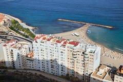 Vista de la playa de Postiguet en Alicante imagen de archivo libre de regalías