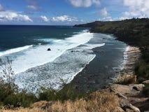 Vista de la playa del molino de viento Fotos de archivo
